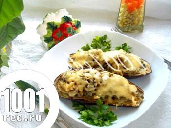 Баклажани, фаршировані грибами і куркою: рецепт з покроковим фото