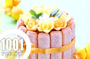 Швидкий торт з вершкового суфле з Савоярді