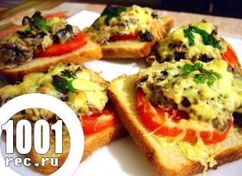 Гарячі бутерброди з грибами