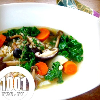 Ячмінний суп з грибами і місо-пастою