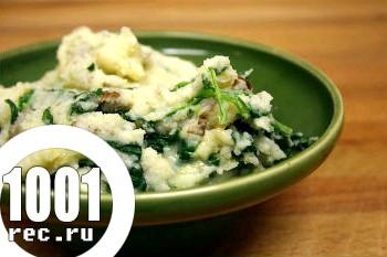 Картопляне пюре зі шпинатом і часником