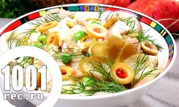 Легкий салат з кальмарами