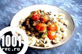 Рис з грибами і шпинатом