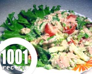 Салат з червоної риби і овочів «Господиня».