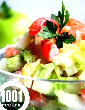 Салат з креветок з овочами