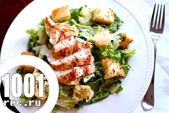 Салат з латуку, грінок, м'яса