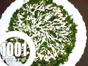 Салат з макаронів і копченої оселедця «Застілля».