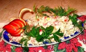 Салат з відвареної риби «Данія».