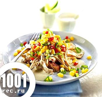 Салат з білими сухариками і курячим філе