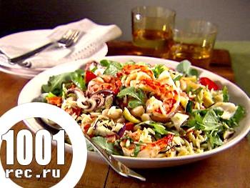 Салат з кальмарами і копченою рибою