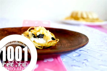 Тарталетки Валентин з спагетті з сирною начинкою: рецепт з покроковим фото