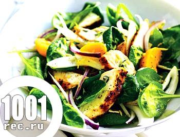 Салат з куркою і персиками