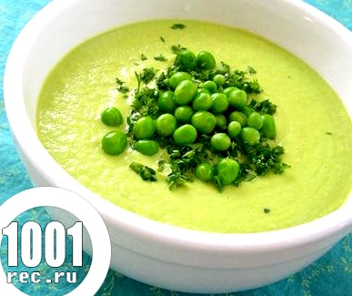 Суп-пюре з зеленого горошку для дітей.