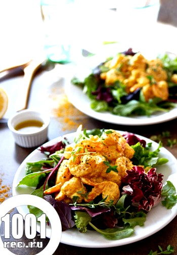Теплий салат з креветками каррі