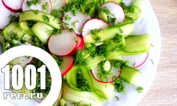Весняний салат з редискою і огірками